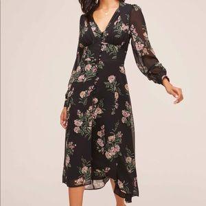 NWT ASTR button bodice floral midi dress